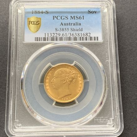 1884 Gold  Sovereign Coin Sydney Mint PCGS MS 61